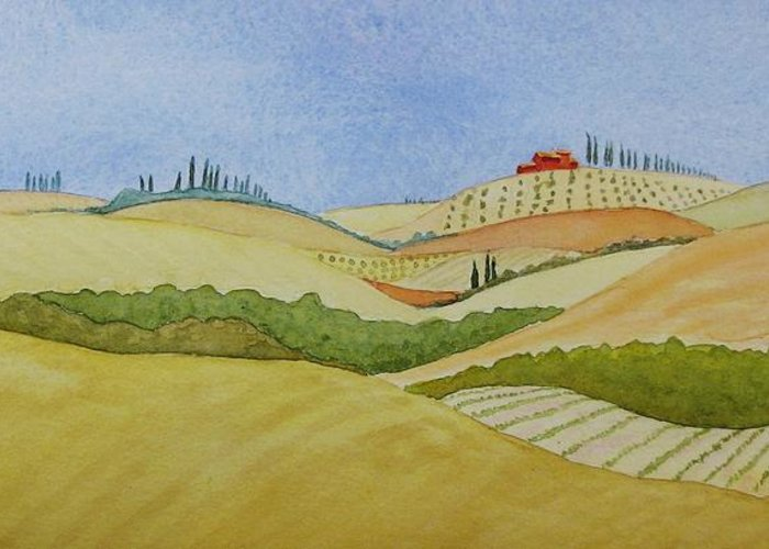 Italy Greeting Card featuring the painting Tuscan Hillside Two by Mary Ellen Mueller Legault