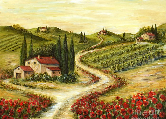 Tuscany Greeting Card featuring the painting Tuscan Road With Poppies by Marilyn Dunlap