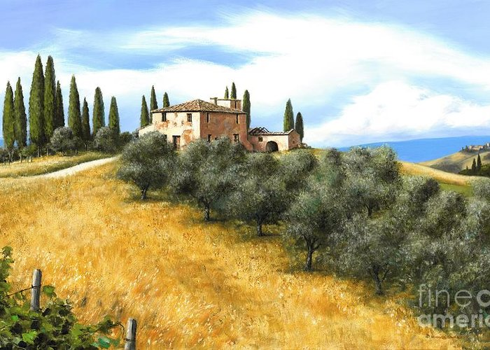 Tuscany Italy Greeting Card featuring the painting Tuscan Sentinels by Michael Swanson