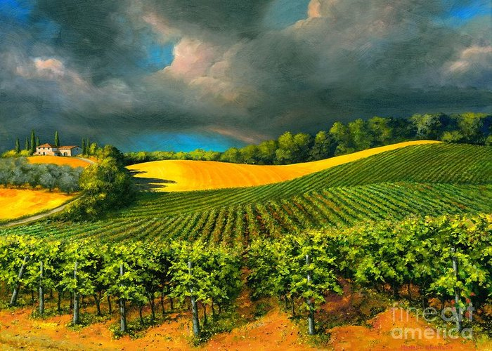 Grape Vine Landscape Greeting Card featuring the painting Tuscan Storm by Michael Swanson