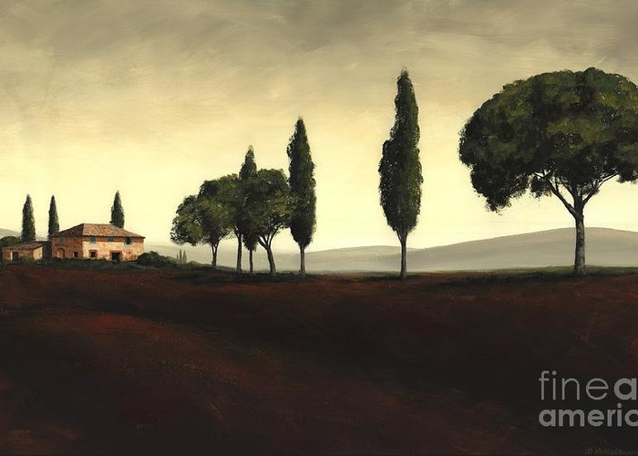 Tuscany Landscape Greeting Card featuring the painting Tuscan Style by Michael Swanson