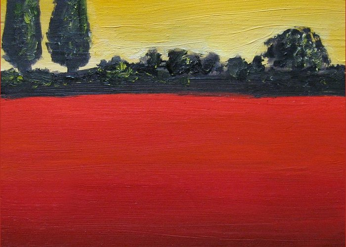 Tuscan Sunrise Greeting Card featuring the painting Tuscan Sunrise by Venus