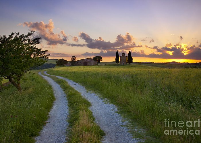 Cappella Greeting Card featuring the photograph Tuscan Sunset by Brian Jannsen