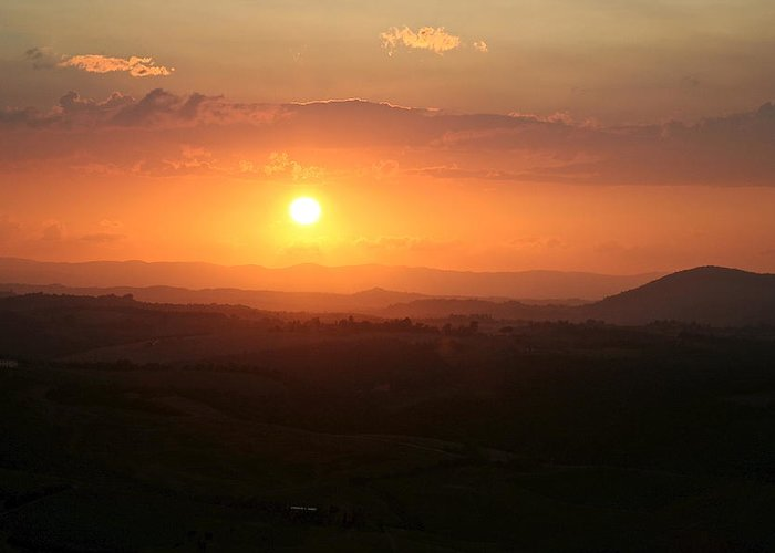 Tuscany Greeting Card featuring the photograph Tuscan Sunset by Catia Juliana