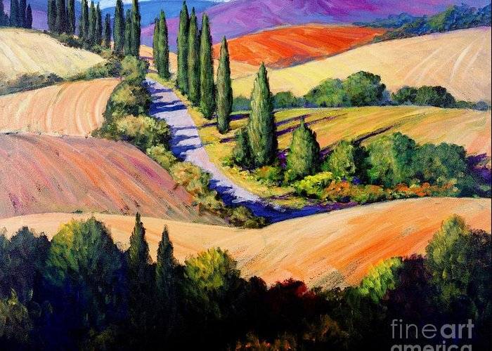 Tuscany Greeting Card featuring the painting Tuscan Trail by Michael Swanson