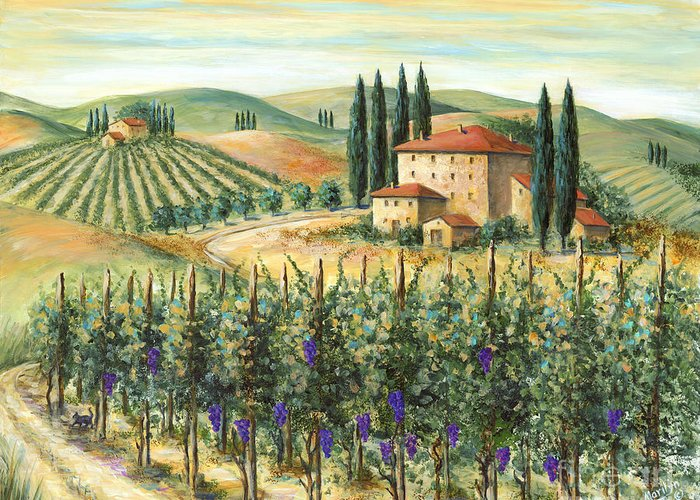 Tuscany Greeting Card featuring the painting Tuscan Vineyard And Villa by Marilyn Dunlap