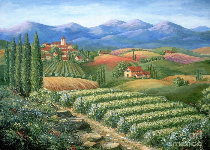 Wine Greeting Card featuring the painting Tuscan Vineyard And Village by Marilyn Dunlap