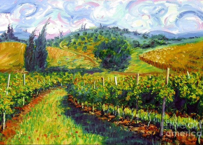 Hills Of Tuscany Greeting Card featuring the painting Tuscan Wind by Michael Swanson