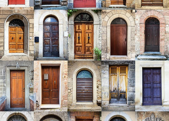 Arch Greeting Card featuring the photograph Tuscan Wooden Doors, Italy by Moreiso
