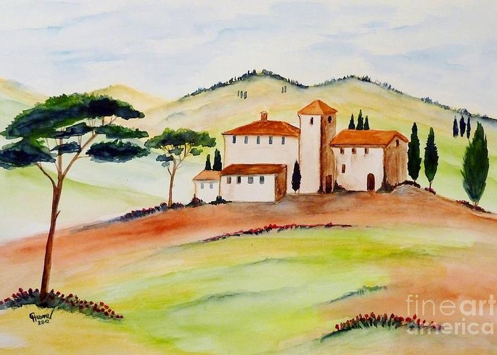 Watercolor Greeting Card featuring the painting Tuscany-again And Again by Christine Huwer