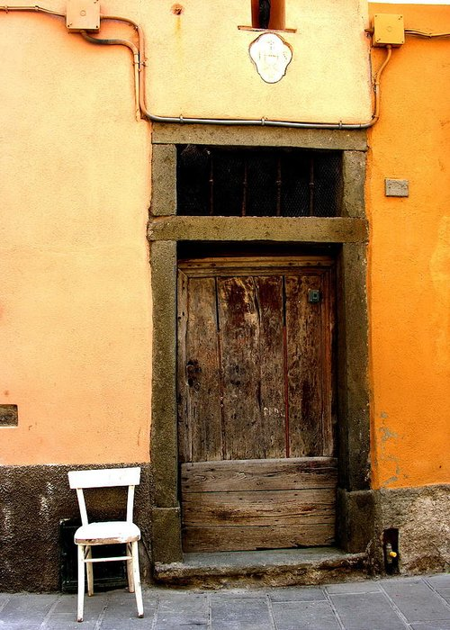 Greeting Card featuring the photograph Tuscany Chair With Door by Jacqueline M Lewis