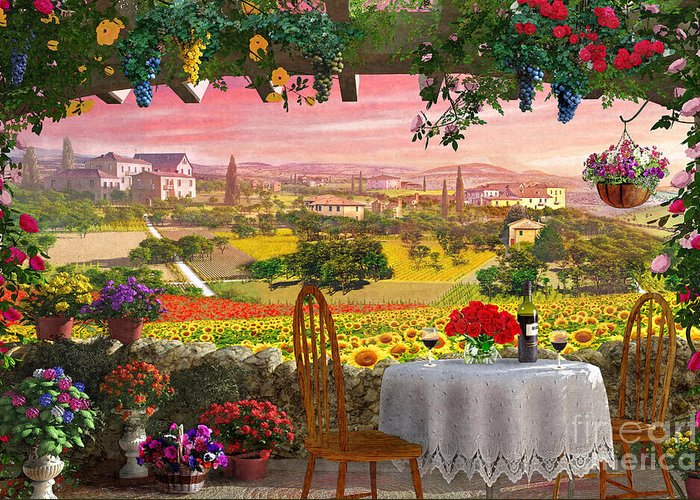 Vineyard Landscape Digital Art Greeting Cards