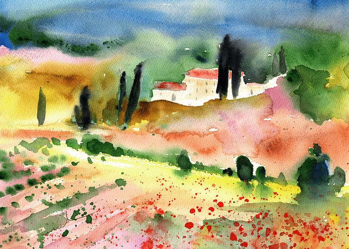 Italy Greeting Card featuring the painting Tuscany Landscape 02 by Miki De Goodaboom