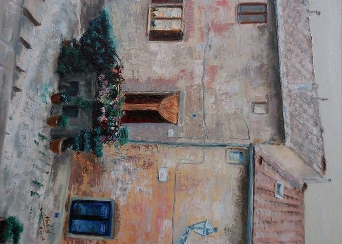 Landscape Greeting Card featuring the painting Tuscany by Nahid Shukralla