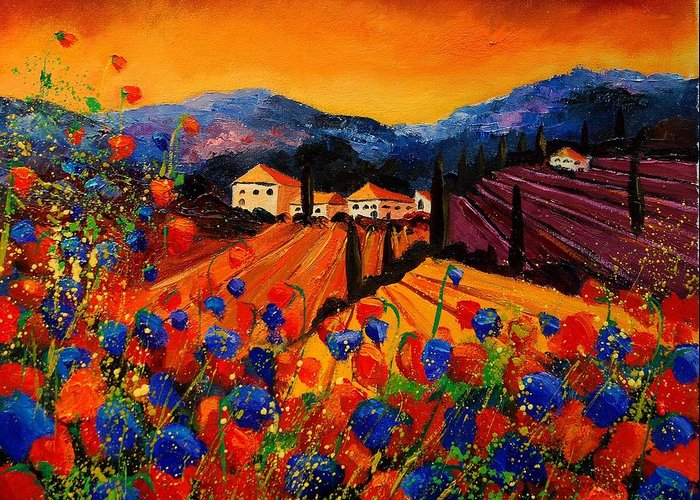 Poppies Greeting Card featuring the painting Tuscany Poppies by Pol Ledent