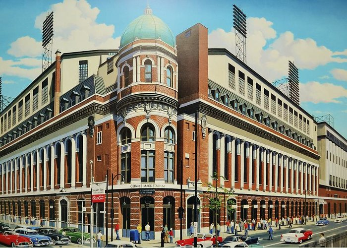Connie Mack Stadium Philadelphia Phillieys A's Greeting Card featuring the painting Twenty-first And Lehigh by Thomas Kolendra
