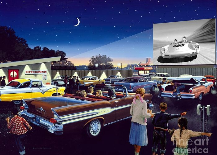 Drive In Theatre Greeting Card featuring the painting Twenty Minutes To Show Time by Michael Swanson