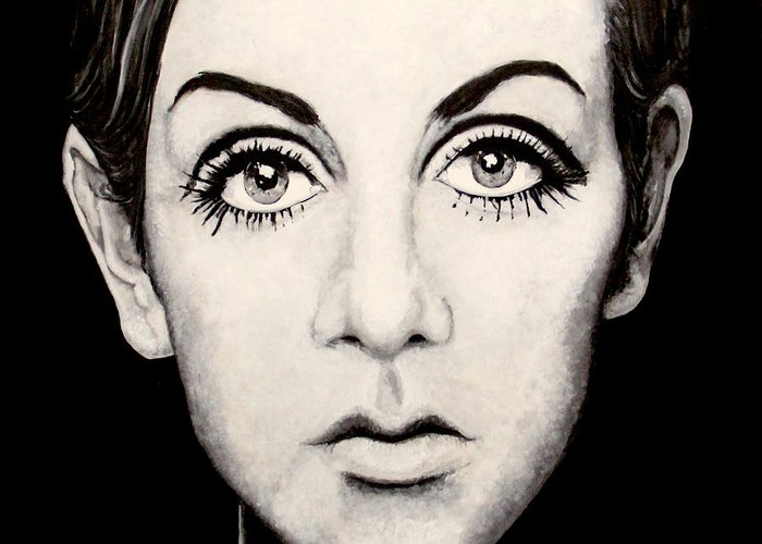 Twiggy Painting Acrylic On Canvass.homage To Photographer Barry Lategan Approx 4x4 Original Artwork. Greeting Card featuring the painting Twiggy by Austin Angelozzi
