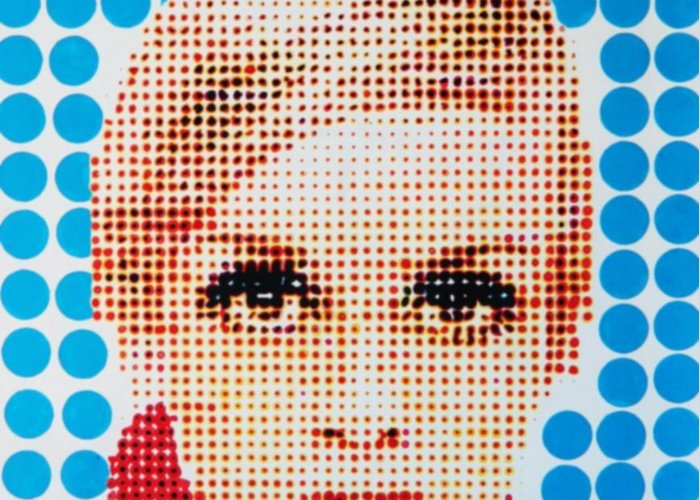 Twiggy Greeting Card featuring the painting Twiggy Blue Dot by Grant Swinney