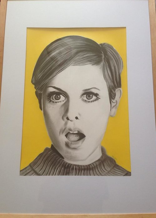 Twiggy Greeting Card featuring the drawing Twiggy by Martin Burton