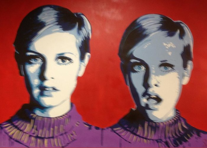 Pop Art Greeting Card featuring the painting Twiggy Two Face by Grant Swinney