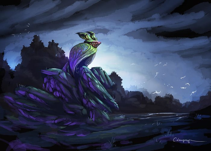 Fantasy Greeting Card featuring the digital art Twilight Hour by Cassiopeia Art