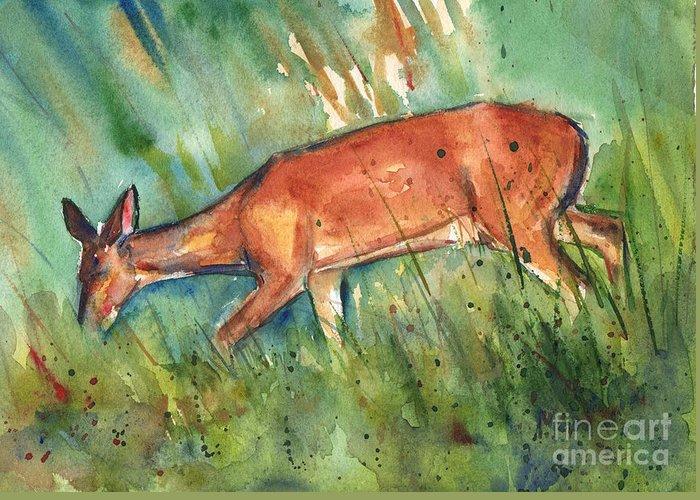 Deer On Beach Greeting Cards