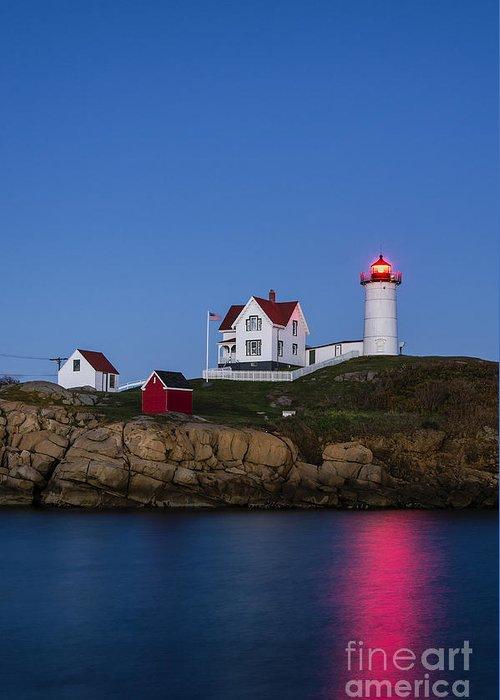 Cape Neddick Greeting Card featuring the photograph Twilight Nubble Lighthouse by John Greim