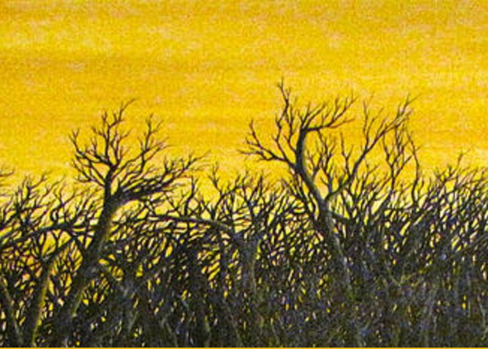 Black Trees Silhouetted Against Golden Sunset. Greeting Card featuring the painting Twilight Partial by Pheonix Creations