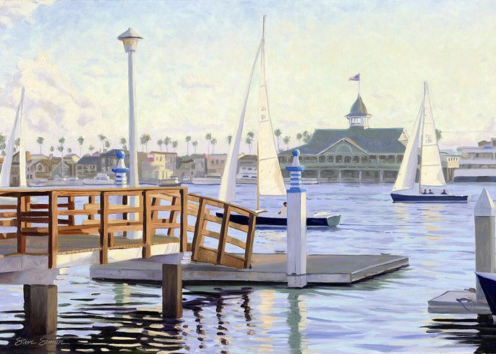 Sailboats Head Out Newport Harbor At Twilight With The Balboa Pavilion In The Background. Greeting Card featuring the painting Twilight Sail by Steve Simon