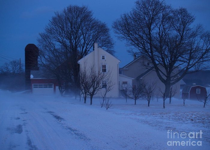 Snow Greeting Card featuring the photograph Twilight Snow On Bauman Road by Anna Lisa Yoder
