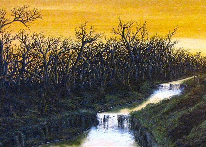 Dark Leafless Trees At Sunset. Greeting Card featuring the painting Twilight's Last Breath by Erik Coryell
