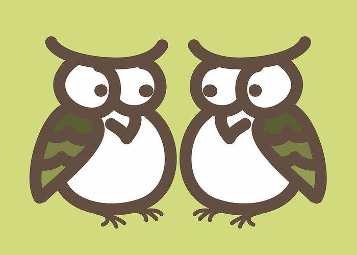 Twin Greeting Card featuring the digital art Twin Owl Babies- Nursery Wall Art by Nursery Art