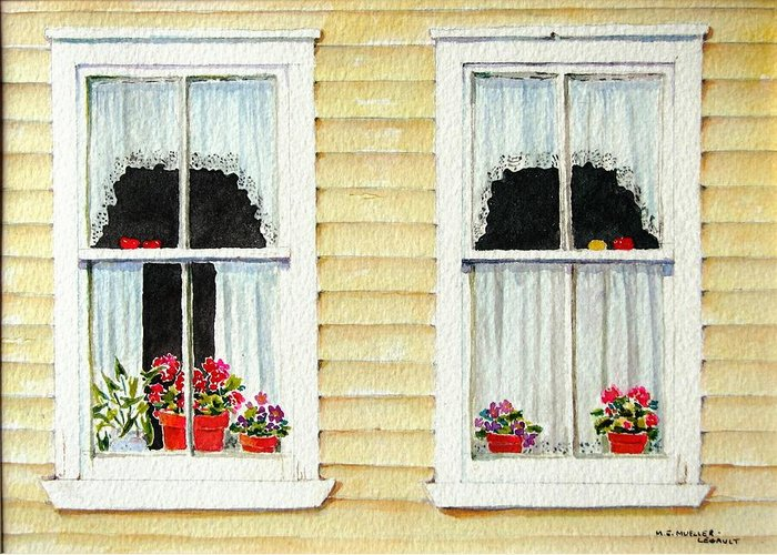Windows Greeting Card featuring the painting Twin Peeks by Mary Ellen Mueller Legault