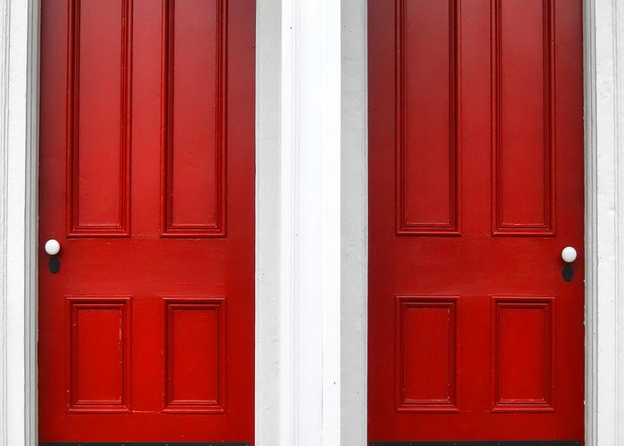 Doors Greeting Card featuring the photograph Twin Red Doors by Olivier Le Queinec