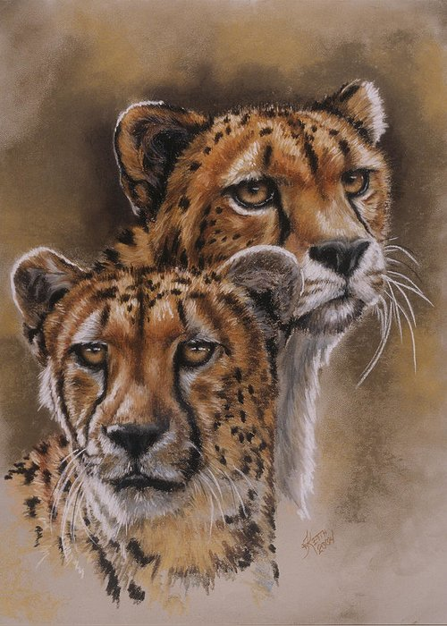 Cheetah Greeting Card featuring the pastel Twins by Barbara Keith