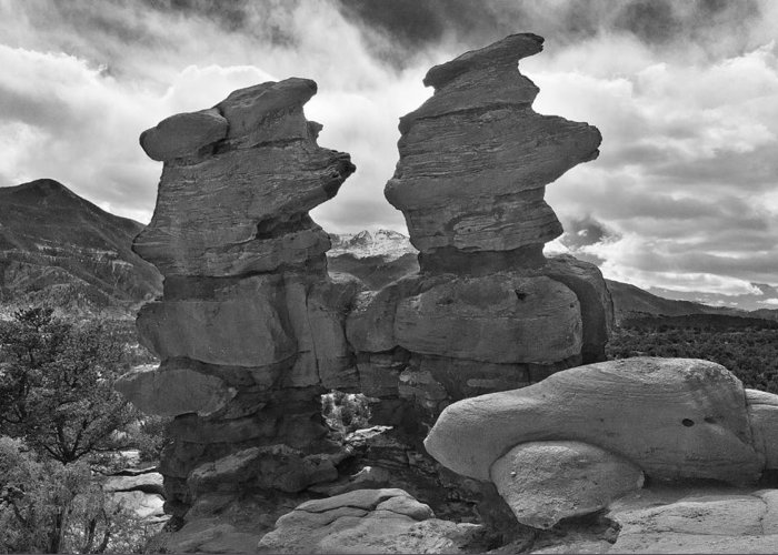 Twins Made Of Rocks Greeting Card featuring the photograph Twin Toadstools by Mae Wertz