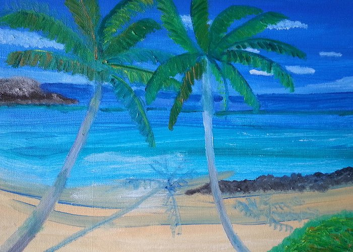 The Ocean Waves Greeting Card featuring the painting Twins by Nelida Alicea