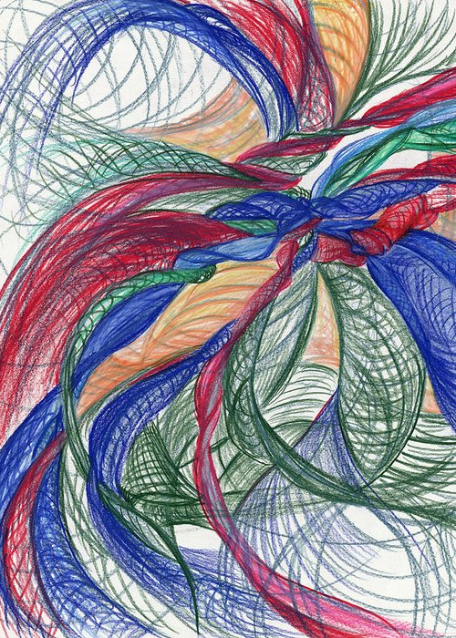 Abstract Greeting Card featuring the drawing Twirls And Cloth by Kelly K H B