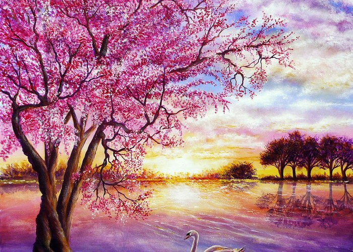 Popular Greeting Card featuring the painting Twisted Blossom by Ann Marie Bone