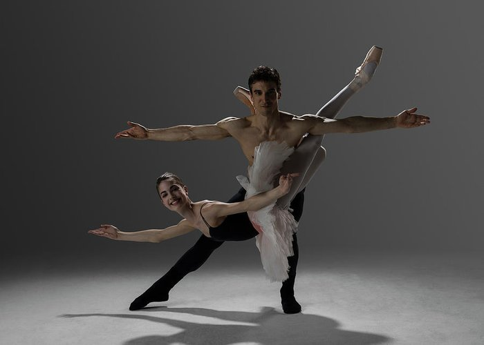 Ballet Dancer Greeting Card featuring the photograph Two Ballet Dancers Performing Pas De by Nisian Hughes