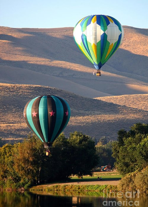 Hot Air Balloons Greeting Card featuring the photograph Two Balloons In Morning Sunshine by Carol Groenen