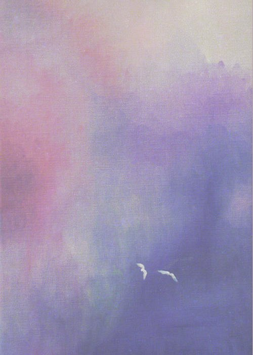 Sky Greeting Card featuring the painting Two Birds Flying In Ravine. by Christina Rahm Galanis