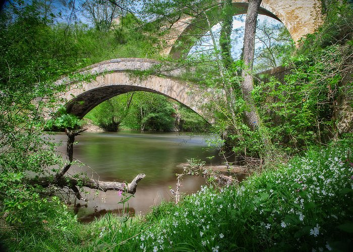 Morvan Greeting Card featuring the photograph Two Bridges by Dirk Ercken