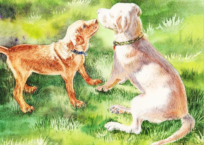 Puppy Greeting Card featuring the painting Two Brothers Labradors by Irina Sztukowski