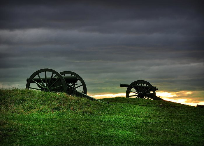 Two Greeting Card featuring the photograph Two Cannons At Gettysburg by Bill Cannon