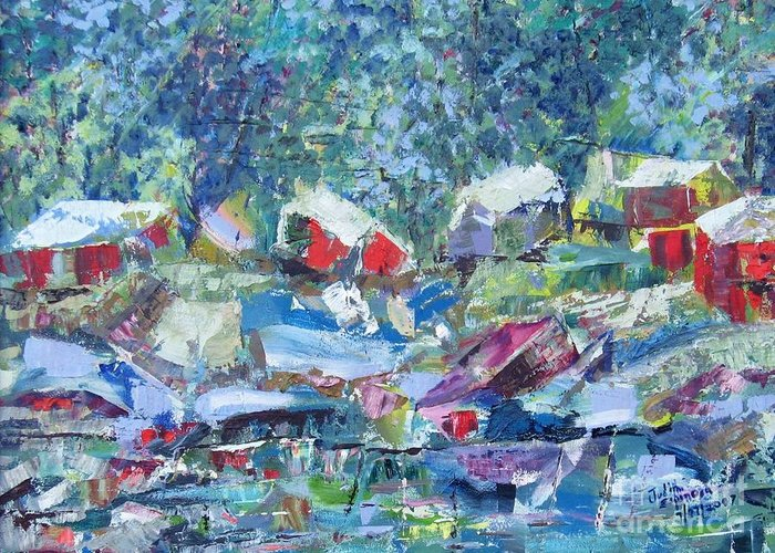 Landscape Greeting Card featuring the painting Two Canoes - Sold by Judith Espinoza