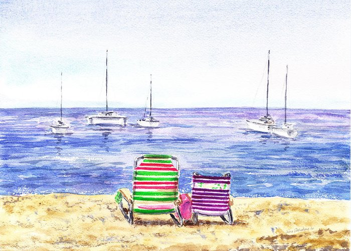 Beach Greeting Card featuring the painting Two Chairs On The Beach by Irina Sztukowski