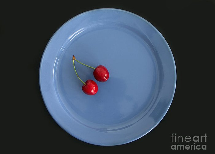 Plate Greeting Card featuring the photograph Two Cherries by Roman Milert
