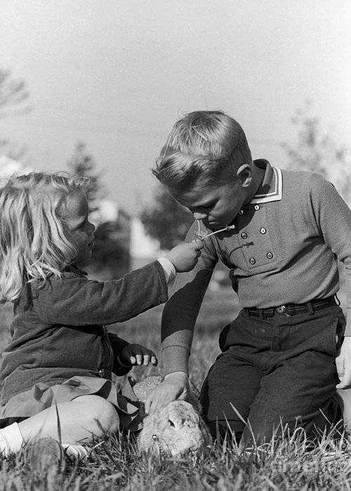 Children Greeting Card featuring the photograph Two Children by Hans Namuth